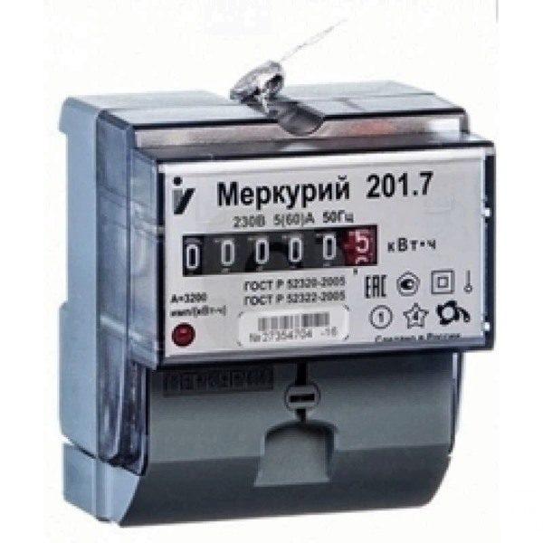 Счетчик электроэнергии однофазный однотарифный Меркурий 201.7 60