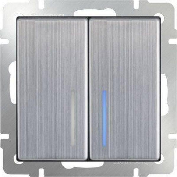 WL02-SW-2G-LED Выключатель двухклавишный с подсветкой