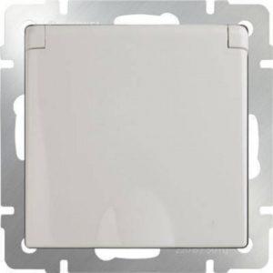 WL03-SKGSC-01-IP44-ivory Розетка влагозащищенная с заземлением с защитной крышкой и шторками