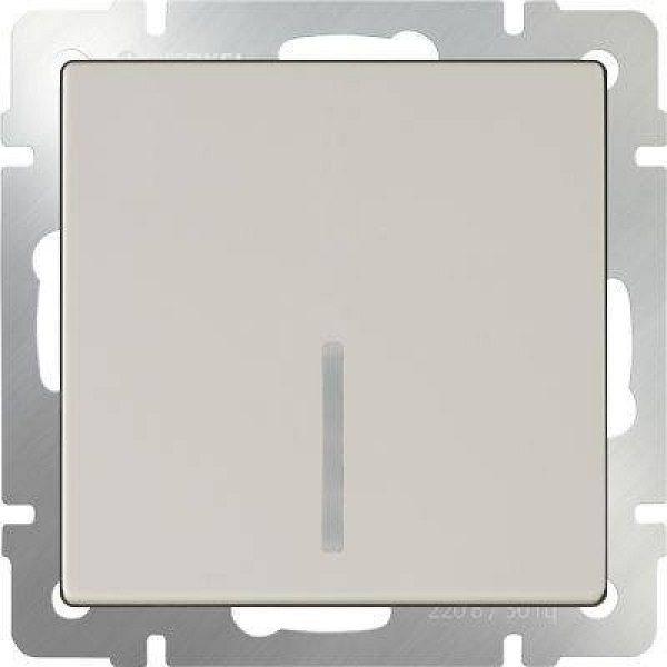 WL03-SW-1G-2W-LED-ivory Выключатель одноклавишный проходной с подсветкой