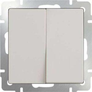 WL03-SW-2G-2W-ivory Выключатель двухклавишный проходной