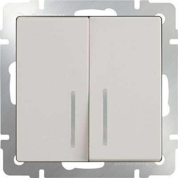 WL03-SW-2G-LED-ivory Выключатель двухклавишный с подсветкой