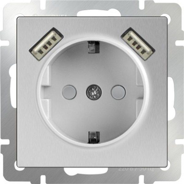 WL06-SKGS-USBx2-IP20 Розетка с заземлением, шторками и USB х2