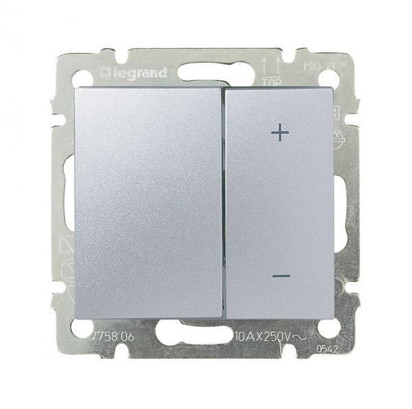 Светорегулятор Legrand Valena Алюминий нажимной 40-600W для лн и обмоточных т-ров