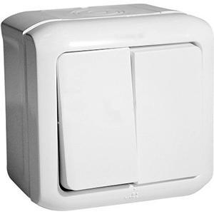Переключатель двухклавишный IP44 Legrand Quteo белый