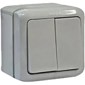 Переключатель двухклавишный IP44 Legrand Quteo серый