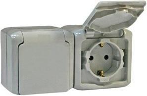 Розетка двойная IP44 с заземлением, шторками и крышками Legrand Quteo серая