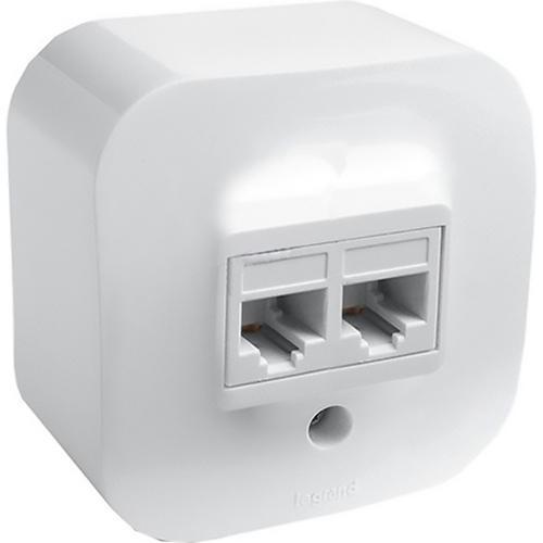 Розетка телефонная+компьютерная RJ11_RJ45 Cat5 UTP Legrand Quteo белая