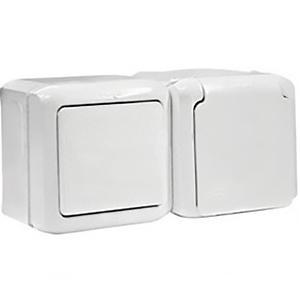 Розетка+выключатель IP44 с заземлением, шторками и крышкой Legrand Quteo белая