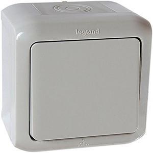 Выключатель одноклавишный IP44 Legrand Quteo серый