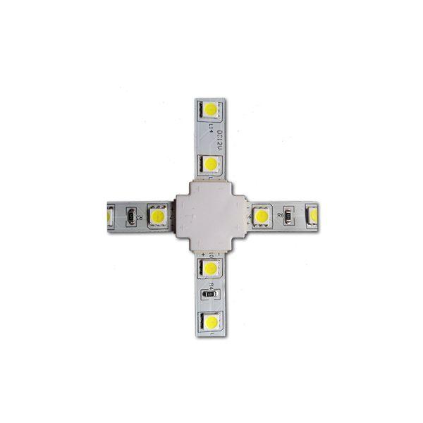 Коннектор крестовой 3528 8мм без провода